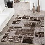 Teppich Günstig Retro Design Modern Wohnzimmerteppich Braun Beige Creme Meliert, Größe:120x170 cm
