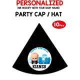 wow party studio personalized boss baby theme party caps/hats with birthday boy/girl name -10 pieces- Black
