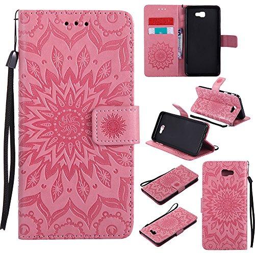 Für Samsung Galaxy J7 Prime Case, Embossing Sonnenblume Magnetic Pattern Premium Soft PU Leder Brieftasche Stand Case Cover mit Lanyard & Halter & Card Slots ( Color : Pink ) Pink
