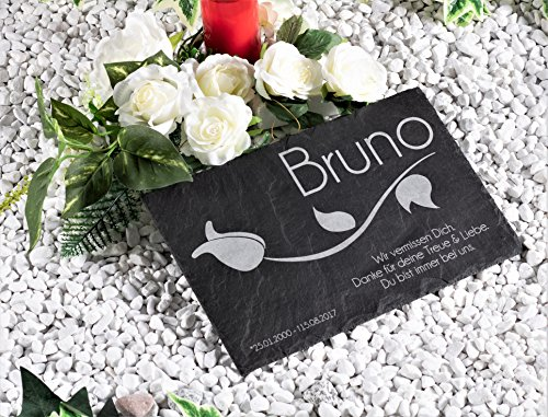 """'Lápida/Grab placa de pizarra natural 30x 20cm/gedenktafel con individual de texto/Nombre grabado """"tulipán/Bonito Recuerdo Para Mascotas Perro, Gato..."""