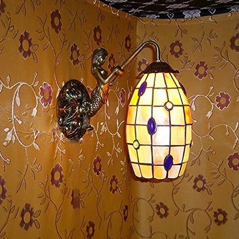 Lámpara de pared natural de Shell lámpara de pared delantera de espejo de la lámpara de la lámpara de Shell de la sirena de los granos Clásica 5 pulgadas de cristal azules