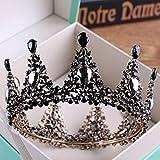Olici Bridal Wedding/Prom Hair Pins/Headdress Accessories/Party/Girls Black Luxurious Bridal Crown Head Ornament Round Crown