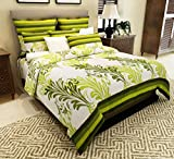 #10: Home Candy 144 TC Elegant Cotton Double Bedsheet with 2 Pillow Covers - Green (CTN-BST-335)