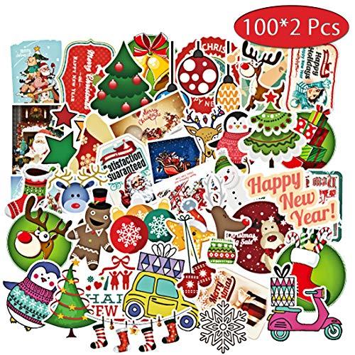 Weihnachten Laptop Aufkleber Auto [200Pcs] Santa Claus Milu Hirsch Schnee Schneemann Baum wasserdicht Graffiti Decals Vinyls Aufkleber für Laptop Skateboard Gepäck Autoaufkleber Hippie Decals -