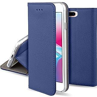 Moozy Hülle Flip Case für iPhone 8 Plus/iPhone 7 Plus, Dunkelblau - Dünne magnetische Klapphülle Handyhülle mit Standfunktion