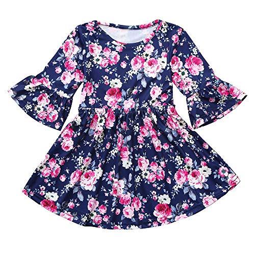 cinnamou Mädchen Prinzessin Festzug Kleider Abschlussball Ballkleid, Kinder Mädchen langärmeliges Blumendruck Tanzkleid