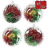 48pcs Palline Di Plastica Trasparenti Apribili di 8cm - Boozy Baubles Perfette Per Natale, Fai Da Te, Bomboniere, Celebrazioni di Nozze