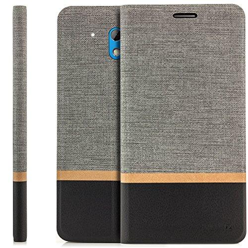 zanasta Tasche kompatibel mit HTC Desire 526G Hülle Flip Case Schutzhülle Handytasche mit Kartenfach Grau