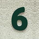 Colours-Manufaktur Hausnummer Nr. 6 - Schriftart: Modern - Höhe: 20-30 cm - viele Farben wählbar (RAL 6005 moosgrün (grün) glänzend, 20 cm)
