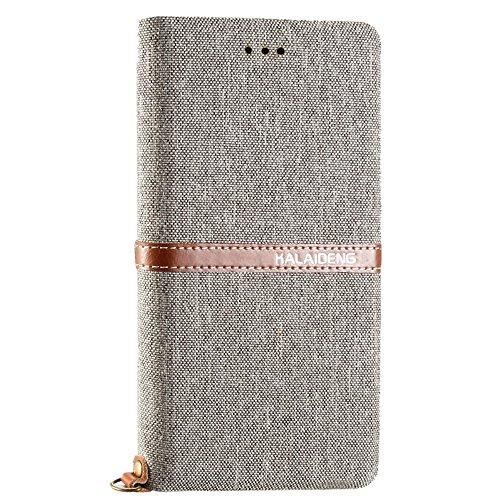 Phone case & Hülle Für iPhone 6 Plus / 6s Plus, KALAIDENG FUNWEAR X Serie Leinen Leder + TPU Horizontale Flip Leder Tasche mit Card Slots & Halter & Lanyard ( Color : Black ) Grey