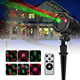 Christmas Light Projector 2017 New Upgrade Mini Waterproof Red and Green Landscape Spotlight with RF Wireless Remote for Patio Christmas Halloween Holiday Party Garden Home Decor