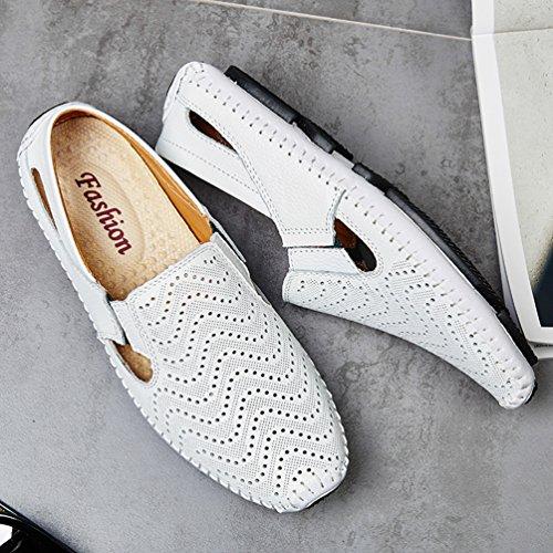 YiLianDa Herren Mokassin Slippers Leder Loafers Fahren Halbschuhe Weiß