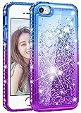 wlooo Handyhülle iPhone SE Glitzer Hülle, Kristall Diamant Flüssig Case Funkeln Fließend Glitter Silikon TPU Cover Luxury Mode Gradient Bling Schutzhülle für iPhone SE/5/5S (Blau&Lila)