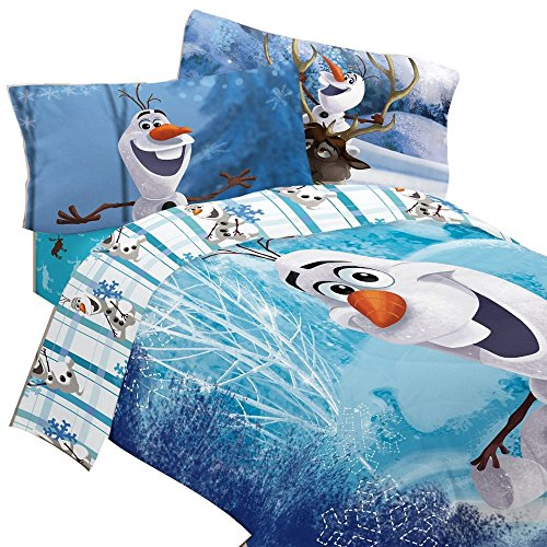 Disney Frozen Bettwäsche-Set Olaf bauen einen Schneemann Tröster und Betttuch Set, Mikrofaser, blau, Volle Größe (Disney Bettwäsche Voller Größe)