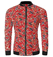 H&E Men's Casual Bohe Print Full Zip Slim Windbreakers Jackets Large Red