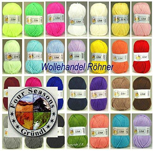 30x 50 Gramm Lisa Premium Gründl Strickgarn Strick-Wolle Set XXL inkl. gratis 1x Mützenlabel und 1x Häkelnadel