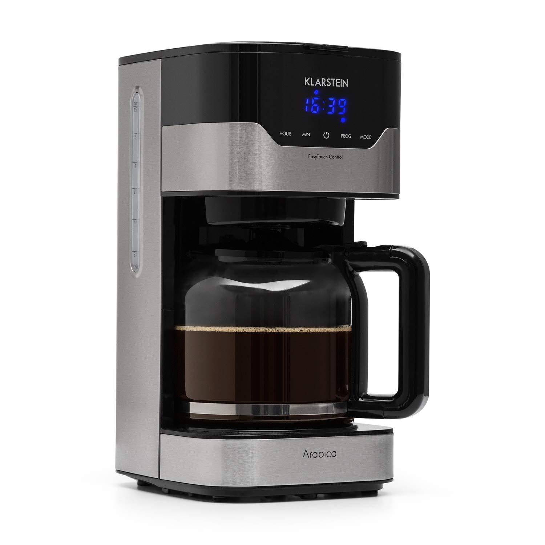 Klarstein Arabica Cafetera • Potencia: 900 W • Capacidad: 1,5 litros • Intensidad regulable • Pantalla LCD • EasyTouch Control • Acero inoxidable • Negro plateado