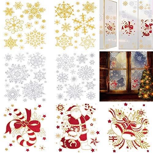 Schneeflocken Fensteraufkleber, Weihnachtsmann Weihnachtsmann Glocke Zuckerstange abnehmbare Wandaufkleber Aufkleber für Weihnachten Neujahr Winter Urlaub Dekoration Party Supplies ()