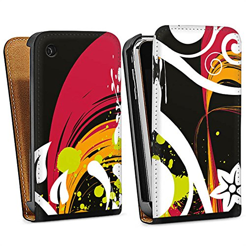 Apple iPhone 4s Housse Étui Silicone Coque Protection Fioriture couleurs Fleurs Sac Downflip noir