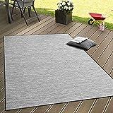 Paco Home in- & Outdoor Flachgewebe Teppich Terrassen Teppiche mit Farbverlauf in Grau, Grösse:80x200 cm