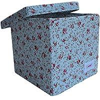 Preisvergleich für Minene 1551 Aufbewahrung Würfel Box, Hellblau mit rosa Blumen