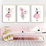 Nordic Ideas 3 Posters 30x40 Tableau Chambre Fille Fleurs Affiche Decoration Murale Bebe Enfant Cadeau sans Cadre NPTCG001-M