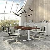 Weber Büro EASY Konferenztisch 240x120 cm Nussbaum mit ELEKTRIFIZIERUNG Besprechungstisch Tisch, Gestellfarbe:Weiß