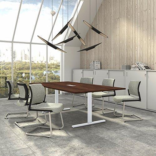 Weber Büro EASY Konferenztisch 240x120 cm Nussbaum mit ELEKTRIFIZIERUNG Besprechungstisch Tisch,...