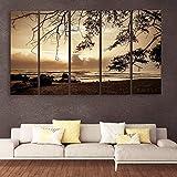 HAZZELNUT Wooden Framed Art Panels (Multicolour, 148x76cm)