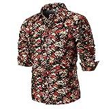 VEMOW Sommer Herbst Neue Mode Persönlichkeit Männer Sommer Casual Täglichen Business Workout Datinbg Schlank Langarm Gedrucktes Hemd Top Bluse(Mehrfarbig 3, EU-50/CN-XL)