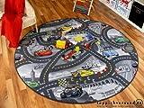 Kinder Spiel Teppich Walt Disney Cars Auto Grau Rund in