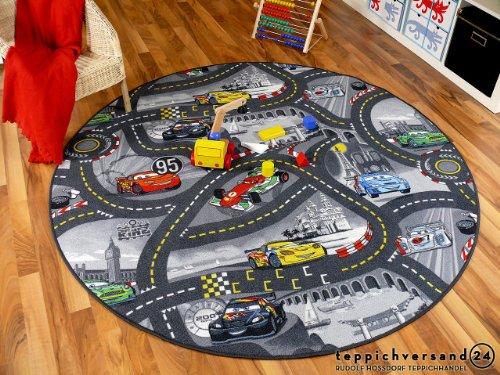 Tapis de jeu pour enfant Disney Cars gris circuit de route rond - 4 tailles disponibles
