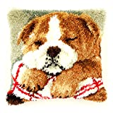 Vervaco PN-0147788 Knüpfkissen Kleine schlafende Bulldoge