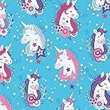 Stoff Baumwollstoff Patchwork Quilt Unicorn Kisses - Unicorn Heads türkis - Stoff zum Nähen - Meterware - 50cm x 112cm