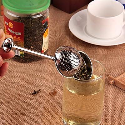 Boule Push Style Feuilles de thé Herbal verrouillage Infuseur Passoire Cuillère à café filtre