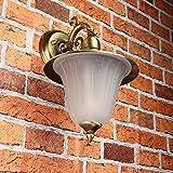 Außen Wandleuchte Messing Antik rostfrei Riffelglas Schirm Premium massive Wandlampe Außenleuchte Haus Balkon E14 - 4