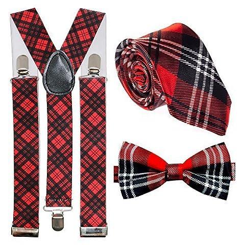 Robert Burns Night Scottish Tartan Braces, Tie & Bow Tie Set