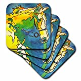 taiche–Acryl Malerei–Pferde–Pferd und Trensenzaum–Trensenzaum, Reitsport, Reiten, Halfter, Pferd, Pferd Inhaber, Reiten–Untersetzer, set-of-8-Soft
