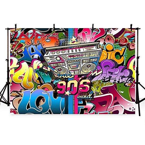 Mehofoto Fotohintergrund Hip-Hop 80er 90er Jahre Mottoparty-Dekoration Foto Hintergrund 18,72 x 152,4 cm