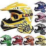 Leopard LEO-X17 *ECE 2205 Genehmigt* Kinder Motocross MX Helm Motorradhelm Crosshelm Kinderquad Off Road Enduro Sport + Handschuhe + Brille - Gelb M (51-52cm)