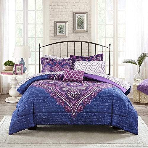Mainstays Grace Medallion Purple Bed in a Bag Complete Bedding Set, KING by DJ's Stuff -