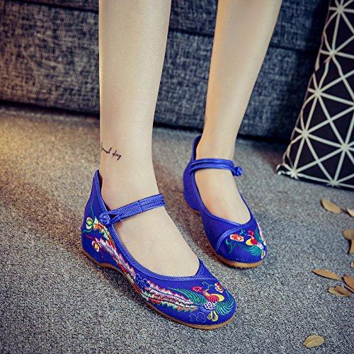 DESY Scarpe ricamate, suola a tendina, stile etnico, scarpe da donna, moda, comode, scarpe da ballo blue blue edge