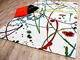 Funky Designer Teppich Sprinkle Weiß Bunt Rot Türkis Grün in 4 Größen