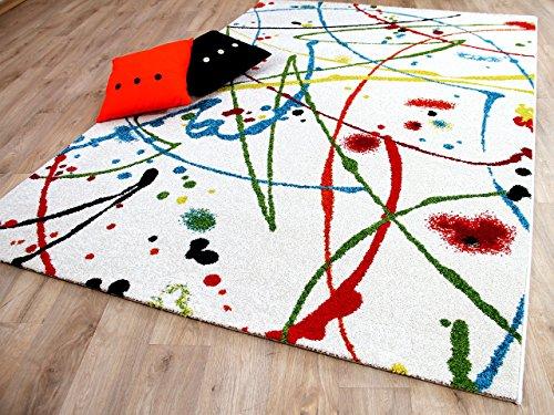 Funky Designer Teppich Sprinkle Weiß Bunt Rot Türkis Grün in 4 Größen - Funky Designer