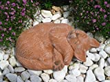 Steinfigur Katze, Gartenfigur Steinguss Tierfigur Terrakotta Patina