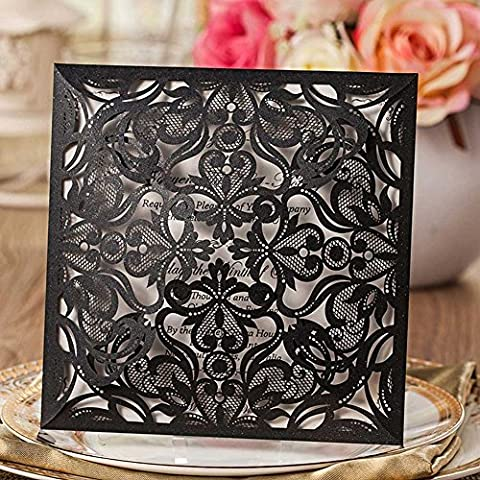 VStoy Black Laser Cut Elegant Luxury Square Wedding Invitations Cards 20 Pieces Kit for Marriage Floral Birthday Bridal Shower with Envelopes Seals Party Favors - Cut Parte