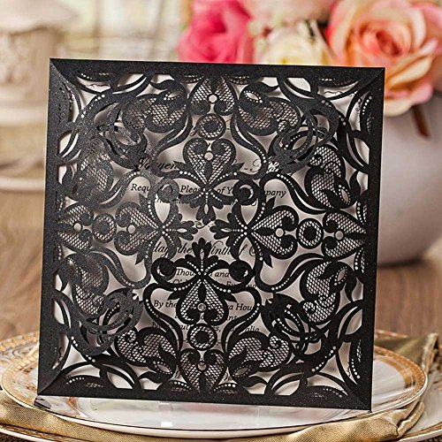 vstoy schwarz Laser geschnitten eleganten Luxus quadratisch Hochzeit Einladungen Karten 20Stück Kit für Ehe Floral Geburtstag Bridal Dusche mit Umschlägen Dichtungen Partyzubehör