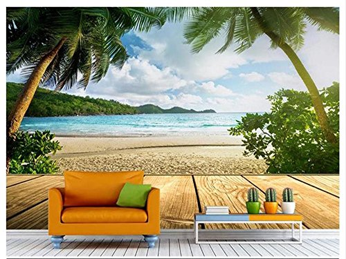 HHCYY Kundenspezifisches Fototapetenwandbild Des Fotos 3D Wohnzimmerküsten-Kokosnuselandschaft Sofa 3D Fernsehhintergrund-Wandpapier Des Gemäldes-300cmx210cm