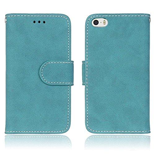 iPhone Case Cover Housse en cuir de qualité supérieure PU Housse en cuir givré rétro Flip Case affaire portefeuille avec des fentes pour cartes Cadres photo pour Apple IPhone 5 5S SE IPhone5 ( Color : 7