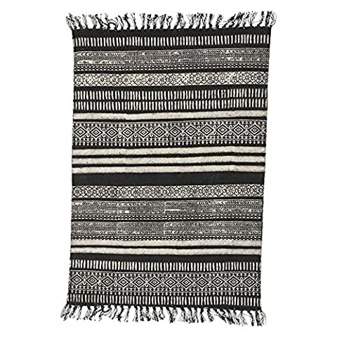 Rug, Stack, black/grey/nude, 90x200 cm, 100% cotton (sizes and colours